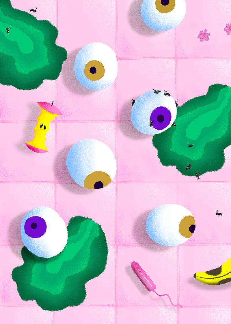 Illustration créée par Marge montrant un sol avec beaucoup de choses qui trainent comme des yeux, un trognon de pomme ou une protection hygiénique.