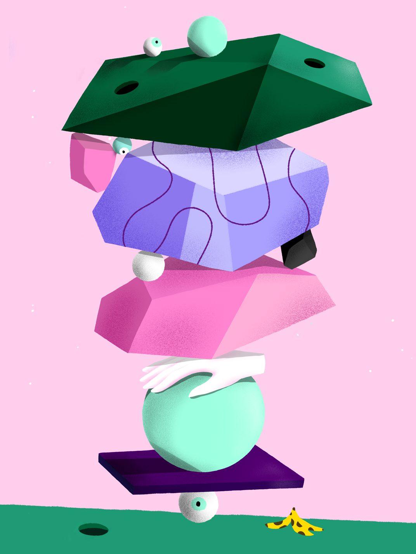 Oeuvre réalisée par le collectif Marge illustrant tout un tas d'objet reposant sur un oeil