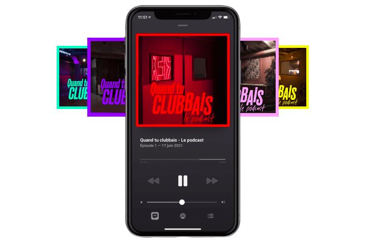 """téléphones montrant les visuels colorés des épisodes du podcast """"Quand tu clubbais"""""""